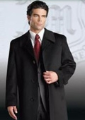 SKU#Ronald Men's Luxury Cashmere Hidden Button three Quarter Topcoat~Overcoat notched lapels
