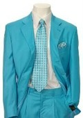 SKU#AL831 Men's Multi-Colored Suit Collection Turquoise $139