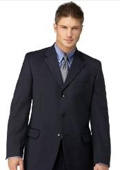 Navy 3 Button Polyester