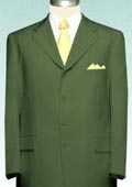 SKU#TMC733 Men's Olive Green Suit Poly Blend Single Breasted Discount Suit $79