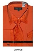SKU#NG2398 Mens Orange French Cuff Dress Shirt with Matching Tie and Hanky $65