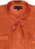 SKU#UH122 Men's Orange Shiny Silky Satin Dress Shirt/Tie $59
