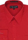 SKU#CD663 Men's Red Dress Shirt $29