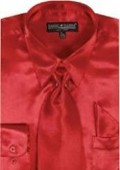 SKU#LO712 Men's Red Shiny Silky Satin Dress Shirt/Tie $59