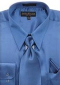 Royal Blue Shiny Silky Satin Dress Shirt