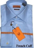 SKU#RT334 Mens Shirt Blue Twill French Cuff 61102-2 $75