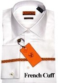 SKU#LK411 Mens Shirt White Twill French Cuff $75