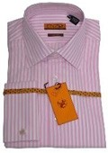 SKU#BN423 Mens Shirt White/Pink Strip French Cuff 62023-1 $75