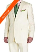 Men's Suit Ivory 2-Button Style Perfect For Wedding + Free Tie $159