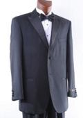 SKU#TV6467 Men's Super 150s 2 Button Black Tonal Stripe Tuxedo $199