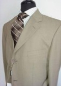 SKU#JC779 Men's Tan Men's Single Breasted Discount  Dress 3 or 4 Button Suit $79