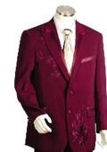 SKU#KK5415 Men's Two Button Suits Wine $149