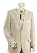 SKU#JH1451 Men's Two Button Suits Taupe $149