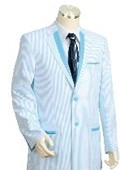 SKU#HG4487 Men's Two Buttons Seersucker Style comes in Turquoise White $149