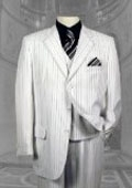 SKU# EYL923 Mens White & Black Pinstripe 3 Button Dress Fashion Suits $399