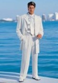SKU#VT05 Men's White Jacket + Pants ) In 4/5/7 Buttons Style $149