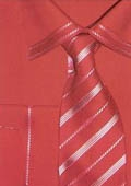 SKU#YN554 Men's trimmed french cuff dress shirt Red $65