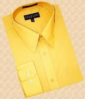 SKU#RK590 Mustard Gold Cotton Blend Dress Shirt With Convertible Cuffs $39