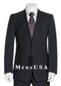 SKU# OCS841 NEW Black & Gray Pinstripe Suit Wool 2 Button Jacket Pleated Pants No non back vent coat style coat $199