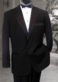 SKU#RT678 NICE 1 BUTTON MENS BLACK TUXEDO SUPER 150'S premeier quality italian fabric EXTRA FINE WOOL
