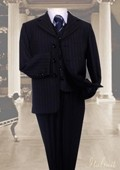 SKU#ZA6656 Navy 3pc Pinstripe Suit With Vest For Kids $99