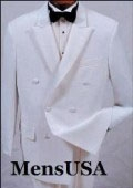SKU# QLV707 New Mens High Quality white double breasted satin peak lapel formal tuxedo. $149