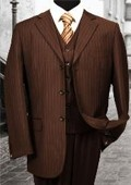 3PC 3 Button Brown