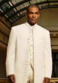 SKU# MUHM45GA OFF White  Matrix Style White 45 Icnh Full Length Mandarin Collar 10 Button (5 x 2 P