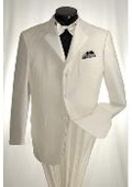 SKU#KJ837 Off White 3 Button Tuxedo Cream Color Tone on Tone Stripe $189