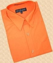 SKU#SK444 Orange Cotton Blend Dress Shirt With Convertible Cuffs $39