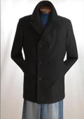 COAT08 Pea Coat Wool Blend Double Breasted Broad Lapels Side Pocket in 3 Color $149
