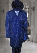 ROYAL Blue & White Stripe 3PC FASHION ZOOT SUIT 38' LONG JACKET VEST AND PANTS
