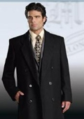 SKU#SSR77 Rafael  Fully Lined Double Breasted 6 buttonss Men's 70/30 Wool/Viscose Blend Long Topcoat $499