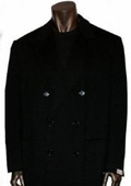 SKU#B878 Rafael Jet Black Double breasted long pea Double breasted coat style $299