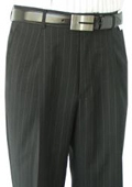 SKU#KOL881 Ralph Lauren Black Stripe Pleated Pre-Cuffed Bottoms Pants $95