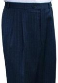 SKU#ESH611 Ralph Lauren Navy Stripe Pleated Pre-Cuffed Bottoms Men's Pants $95