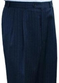 SKU#JAR834 Ralph Lauren Navy Stripe Pleated Pre-Cuffed Bottoms Pants $95