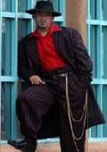 SKU# PTX721 BLACK- Red STRIP 3PC WIDE PINSTRIP FASHION ZOOT SUIT $159