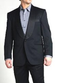 SKU#JN8088 Richard Harris One Button Shawl Collar Wool Tuxedo - Black $495