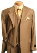 SKU#SAD8901 Light Weight 2 Button Tapered Cut Half Lined Flat Front Linen Khaki Suit Vented Sand $199