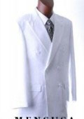SKU# ACVHQ365 2pc MEN'S SHARP Double Breasted DRESS SUIT Snow Solid White