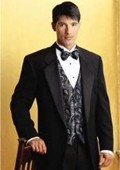 SKU#ER345 SUPER 150'S 1 BUTTON MENS BLACK TUXEDO EXTRA FINE WITH FRENCH PIPING