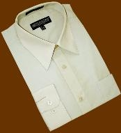 SKU#PM668 Sage Cotton Blend Dress Shirt With Convertible Cuffs $39