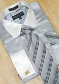 Silver Grey/White Shirt Tie