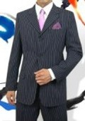 SKU#PWAC3 Sharp Men's 3 Button Style Navy Pinstripe Light Weight On Sale $99