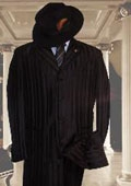 SKU#HIN2059 Shiny Black Shadow Stripe Ton on Ton Shadow Stripe Mens Fashion Zoot Suit $185