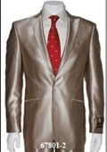 SKU#Shark-2 Shiny Sharkskin Flashy Tan~beige~Taupe 2 Button Style Jacket Flat Front Pants Notch Collar $189