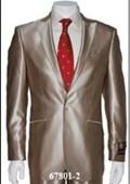 SKU#Shark-2 Shiny Sharkskin Flashy Tan~beige~Taupe 2 Button Style Jacket Flat Front Pants Notch Collar $189