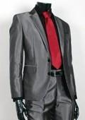 SKU#SH20 Shiny Sharkskin Charcoal Gray 2 Button Style Jacket Flat Front Pants New Style $189