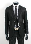 SKU#SH20 Shiny Sharkskin Jet Black 2 Button Style Jacket Flat Front Pants New Style $189